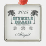 Personalised Vintage Myrtle Beach South Carolina Silver-Colored Square Decoration
