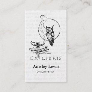 Bookplate business cards zazzle au personalised vintage owl collage business card reheart Image collections