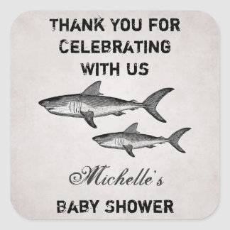 Personalised Vintage Shark Baby Shower Thank You Square Sticker