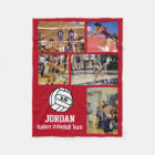 Personalised Volleyball 5 Photo Collage Name Team# Fleece Blanket