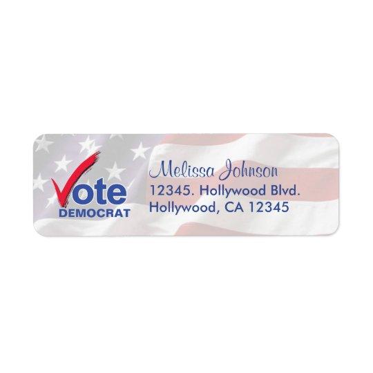 Personalised Vote Democrat Return Address Labels