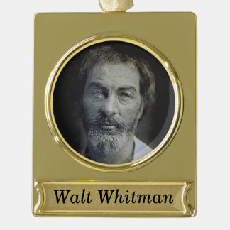 Personalised Walt Whitman Portrait Gold Plated Banner Ornament