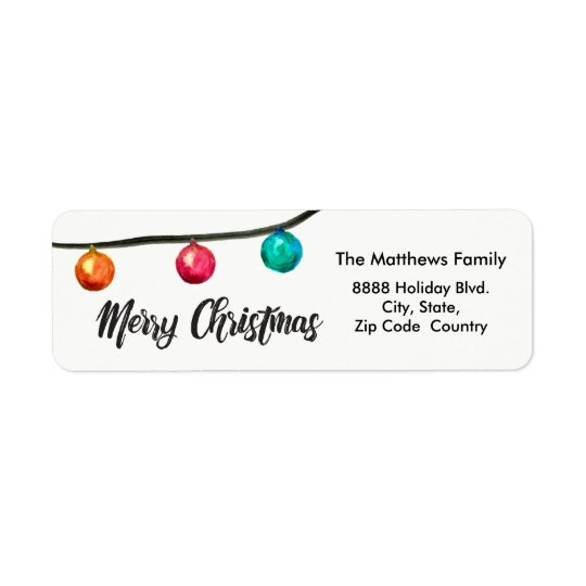 Personalised, Watercolor Christmas ball Ornaments Return Address Label