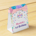 Personalised Watercolor Floral Unicorn Birthday Favour Box