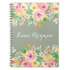 Personalised Watercolor Flowers Journal Notebook