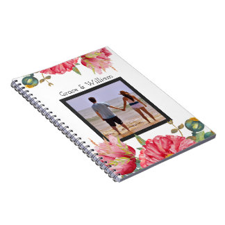Personalised Watercolor Red Poppy Flower Spiral Notebook
