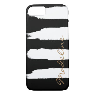 Personalised Watercolor White Brush Strokes iPhone 7 Case