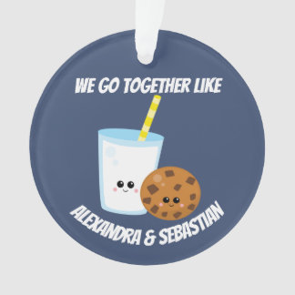 Personalised we go together like milk and cookies ornament