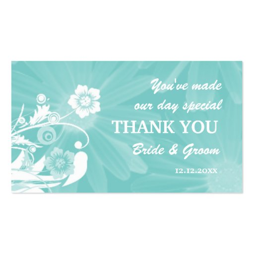 Personalised Wedding Favour Gift Tags Aqua Green Pack Of Standard Business Cards