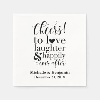 Personalised Wedding Napkins - Cheers to Love Disposable Serviette