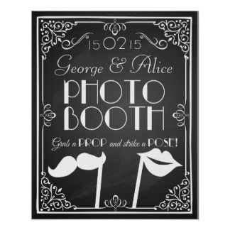 Personalised wedding  photo booth sign chalkboard poster