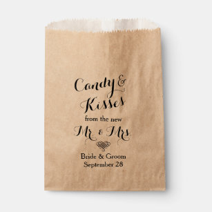 Personalised Wedding Popcorn or Candy Bar Buffet Favour Bag
