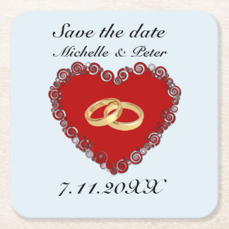 """Personalised Wedding """"Save The Date"""" Square Paper Coaster"""