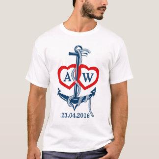 Personalised wedding t-shirt Nautical anchor