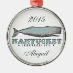Personalised Whale Nantucket MA Ornament