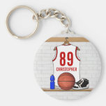 Personalised White and Red Basketball Jersey