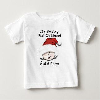 Personalised White Baby 1st Christmas Tshirt