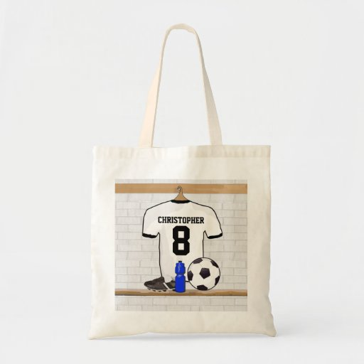Personalised White | Black Football Soccer Jersey Tote Bags