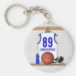 Personalised white Blue Basketball Jersey Key Chains