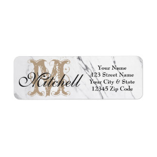 Personalised White Marble return address labels