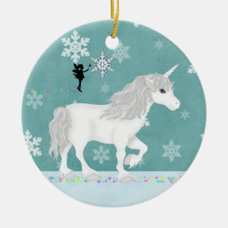 Personalised White Unicorn, Fairy and Snowflakes Ceramic Ornament