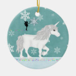 Personalised White Unicorn, Fairy and Snowflakes Round Ceramic Decoration
