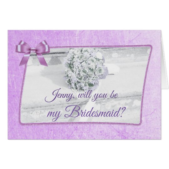 Personalised Will you be my Bridesmaid Purple Card