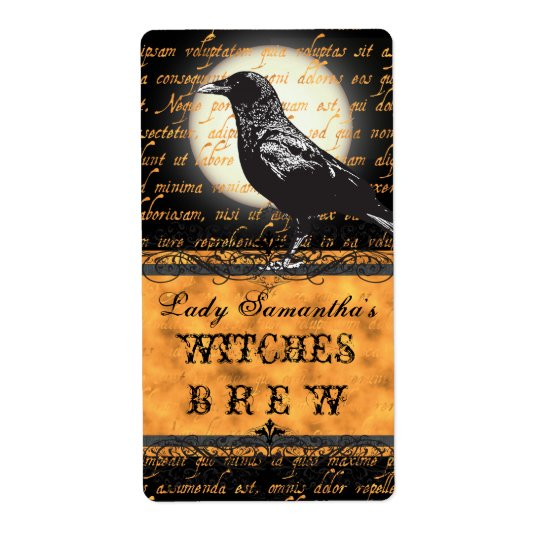 Personalised Witches Brew Halloween Bottle Label