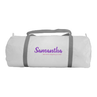 Personalised with name and custom words gym bag