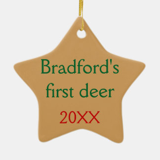 Personalised with your text Deer in the Mist Ceramic Star Decoration