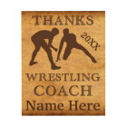 Personalised Wood Wall Art Wrestling Coach Gifts