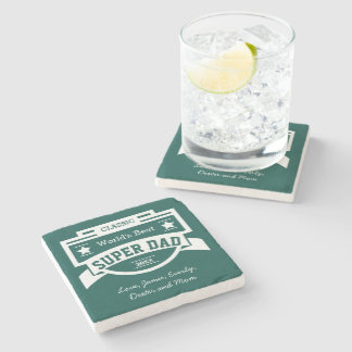 Personalised World's Best Super Dad Stone Coaster