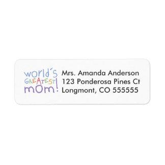 Personalised World's Greatest Mum Address Labels