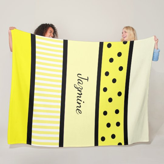 Personalised Yellow Black Polka Dots Stripes Fleece Blanket
