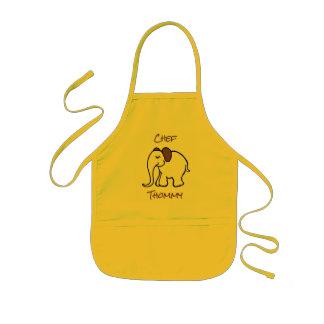 Personalised Yellow Cute Cartoon Baby Elephant Kids Apron