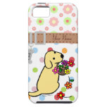 Personalised Yellow Lab Puppy Flowers Cartoon Case For The iPhone 5