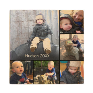 Personalised Your Baby Photo Collage Wood Coaster
