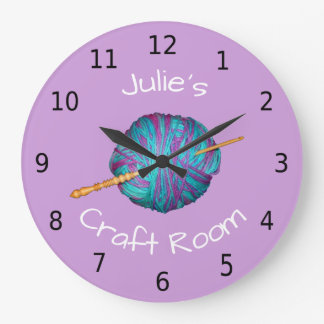 Personalised your name, craft room, crochet wallclock