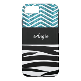 Personalised Zebra Stripes and Turquoise Glitter iPhone 7 Case