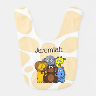 Personalised Zoo or Jungle Animals Baby Bib