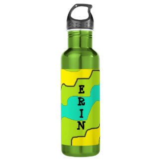 Personaliz this Green, Yellow & Teal Water Bottle
