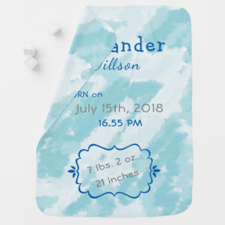 Personalizable Baby Birth Stats, Blue Baby Blanket