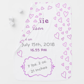 Personalizable Baby Birth Stats, Pink Hearts Baby Blanket