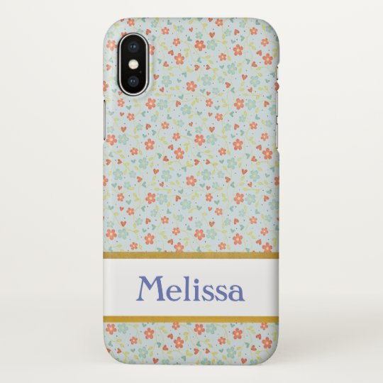 Personalizable Blue Floral Vintage iPhone X Case
