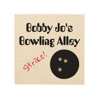 """Personalizable Bowling Alley """"Strike!"""" with Ball Wood Canvases"""