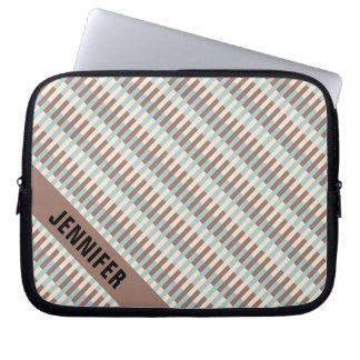 Personalizable Brown Tan Blue Stripes Laptop Sleeve