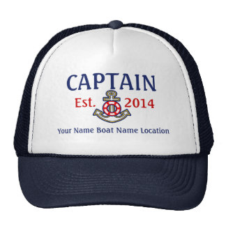 Personalizable Captain Hat Year Name Location
