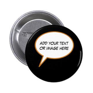 personalizable cartoon speech balloon 6 cm round badge