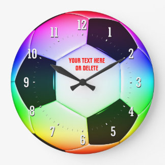 Personalizable Colorful Soccer Football Wall Clock