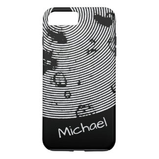 Personalizable Cool Black/White Circled Pattern iPhone 8 Plus/7 Plus Case